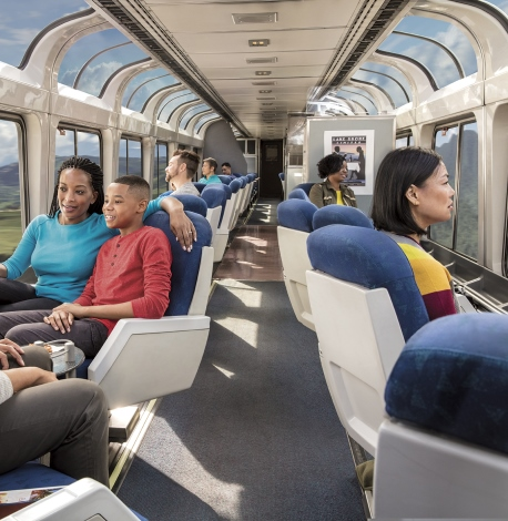 passengers on an Amtrak Vacations train