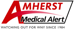 "Amherst Medical Alert logo with ""watching out for WNY since 1984"" tagline"