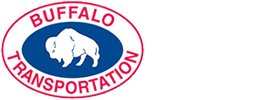 Buffalo Transportation Logo featuring white buffalo on blue background circled with red font