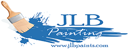 JLB Painting logo featuring a paintbrush, blue paint, and the company's website
