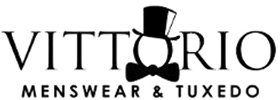 "Vittorio Menswear & Tuxedo logo featuring the top hat and bow tie on the middle ""o"""