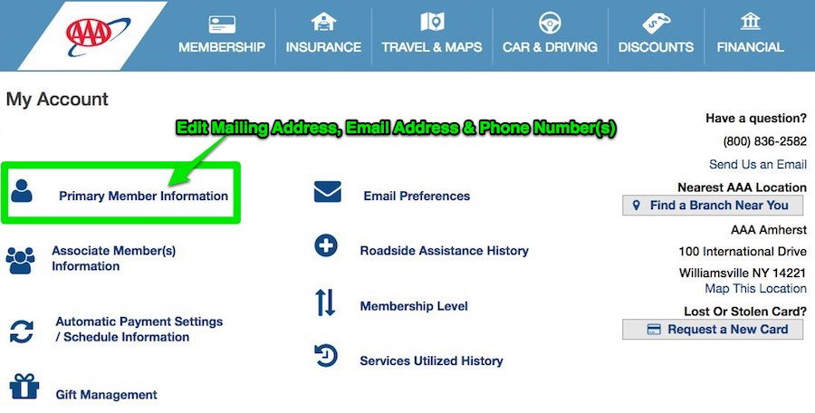 Edit your Mailing Address, Email Address & Phone Number(s)