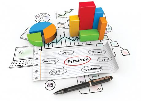Productivity and financial related images of a pie-chart, bar-chart, 'finance' written on a piece of paper with a red circle around it
