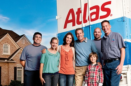 Happy family with Atlas truck