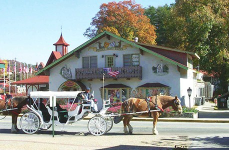 western themed hotel and horse drawn carriage