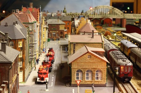 miniature town and toy trains