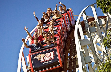 Guests riding the Jack Rabbit roller coaster