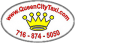 Queen City Taxi logo featuring the website and phone number